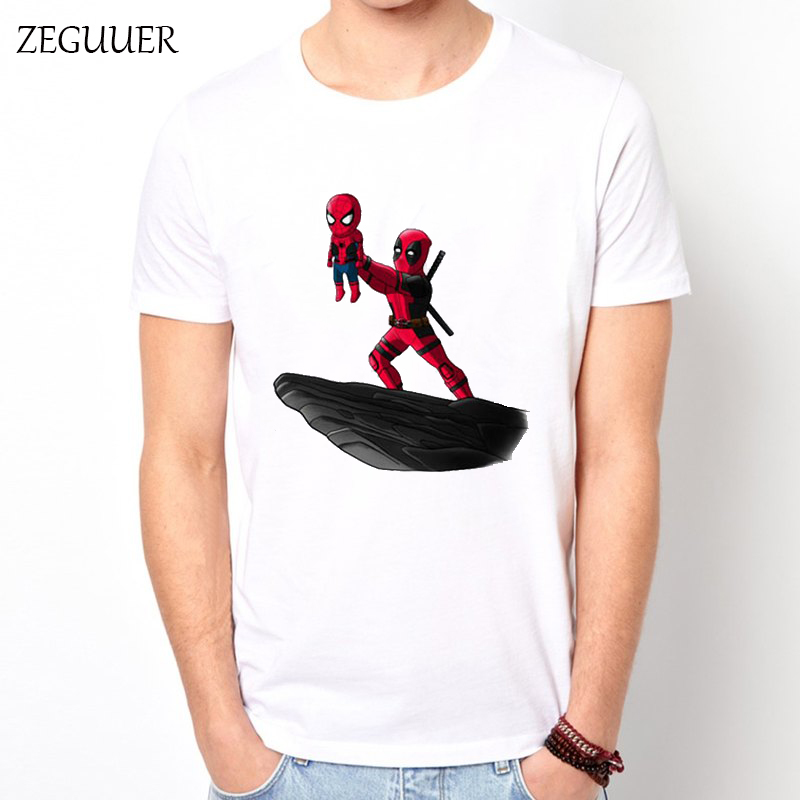 Kawaii Deadpool Tshirt Cute Men's T-shirt Harajuku Cartoons Streetwear Print Fashion Wind Cotton Round Neck Casual Clothes