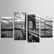 4 panel large iron bridge landscape painting mural artist decoration living room canvas printing modern FJJX-1080