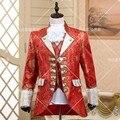 ( Jacket + pants + vest + tie ) terno europeu tribunal vestidos costume stage show retro red para o cantor dançarino desempenho estrela festa