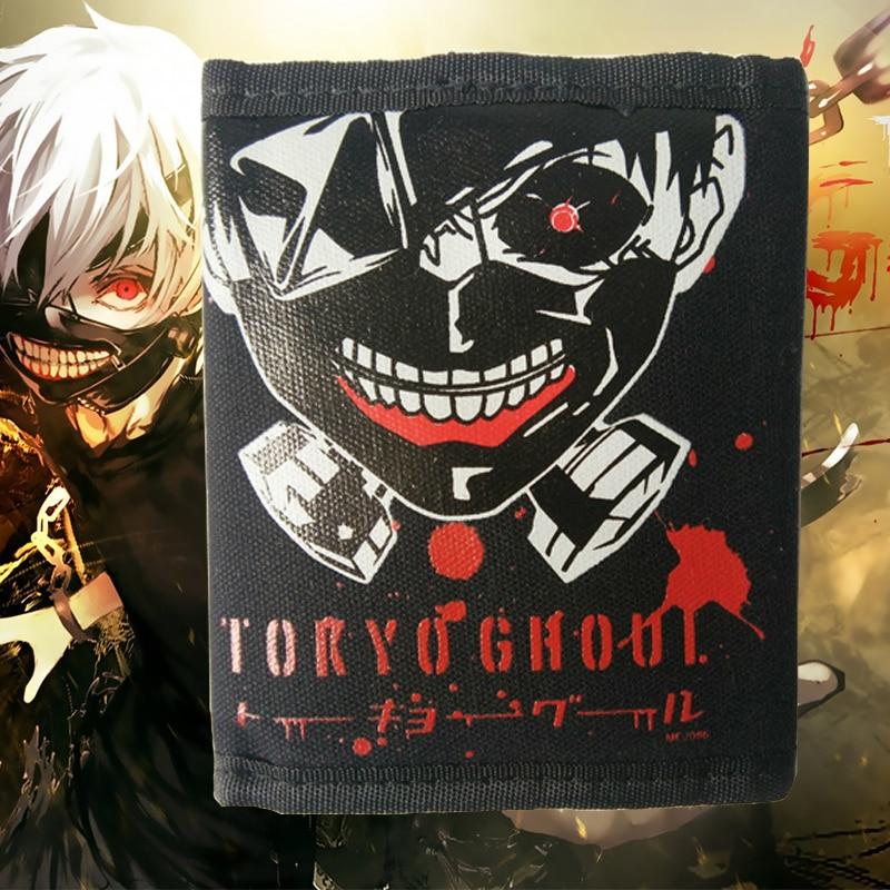 Anime Tokyo Ghoul/Natsume Yuujinchou/Gintama Wallets Short Purse Billetera Canvas Money Bag Credit Card Holders with Key Ring