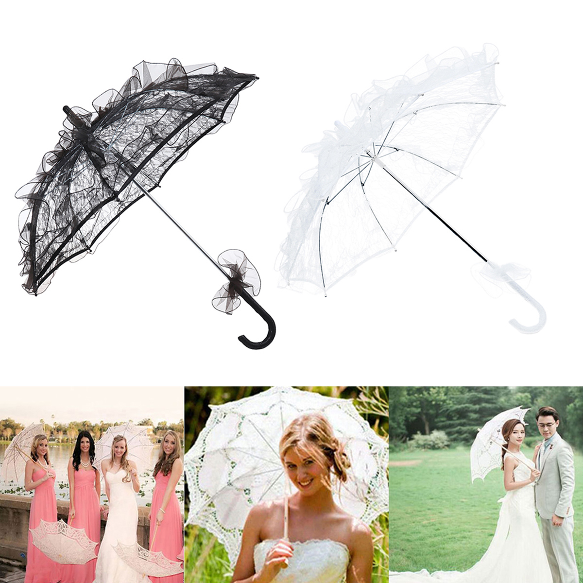 Western Style Bride Umbrella Lace Sun Umbrella Fleur Parasol Decoration White Red Wedding Bride Umbrella For Bridal Wedding