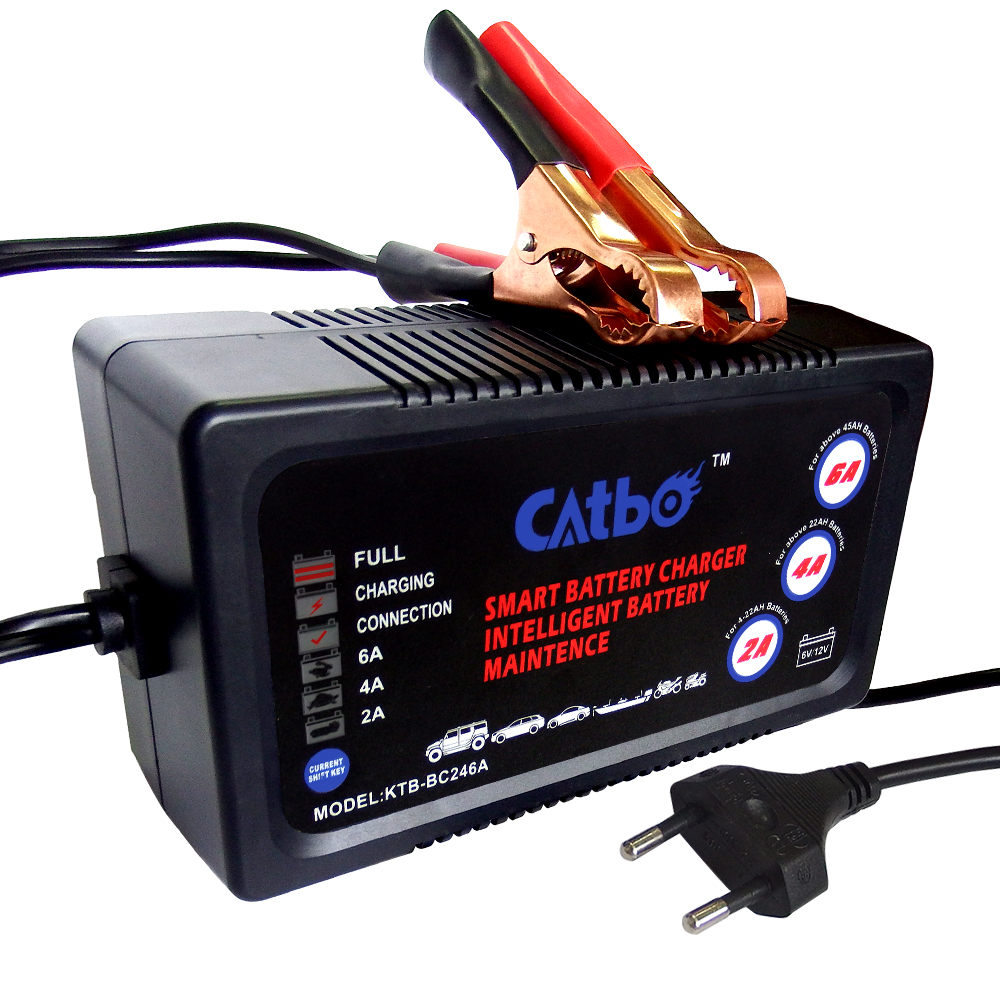 CATBO 6V/12V 2A/4A/6A Car Battery Charger, Automatic Smart Battery Charger, Maintainer & Desulfator for Lead Acid Batteries
