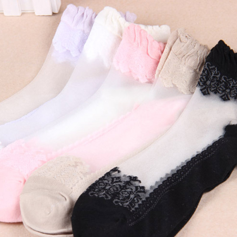 Women Colorful Ultrathin Crystal Lace Socks Elastic Short Soft Ankle Length Transparent Sock GDD99