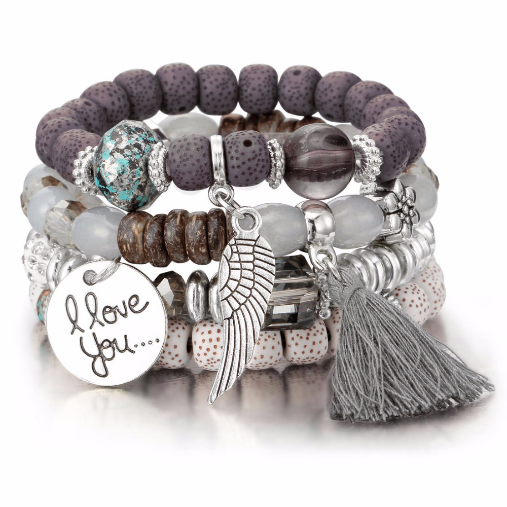 Bohemian Classic Multilayer Color Stone and tassel Adjustable Bilezik Cuff Opening Bracelet Women Jewelry Gift Mujer Pulseras