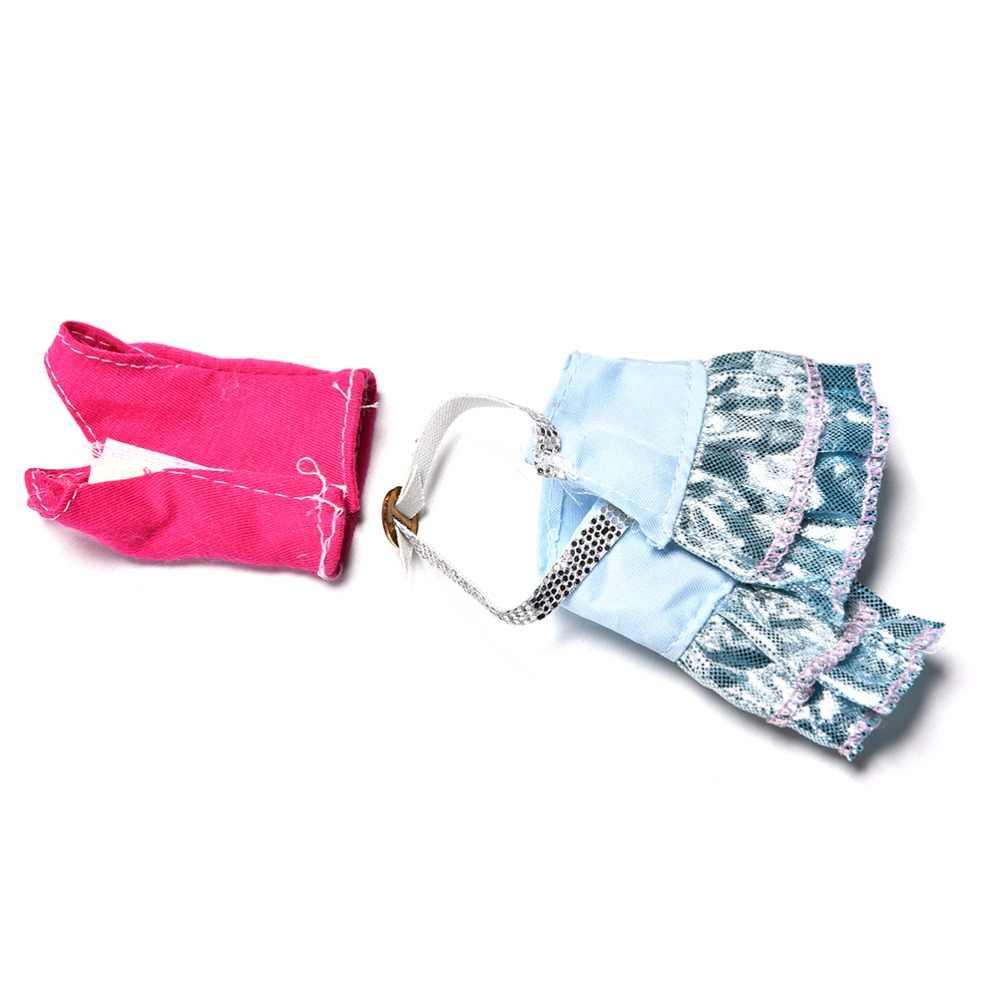 """새로운 패션 의류 화이트 모피 칼라 핑크 조끼 스커트 정장 인형 11 """"인형 3 피스 의류 인형 액세서리"""