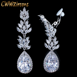 CWWZircons No Hole Pierced Ear Design Cubic Zirconia Crystal Pave Women Long Water Drop Clip on Earrings without Piercing  CZ411