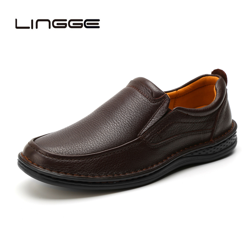LINGGE 2019 New Genuine Leather Men Casual Shoes Fashion Men Loafers Comfortable Lightweight Men Leather Shoes