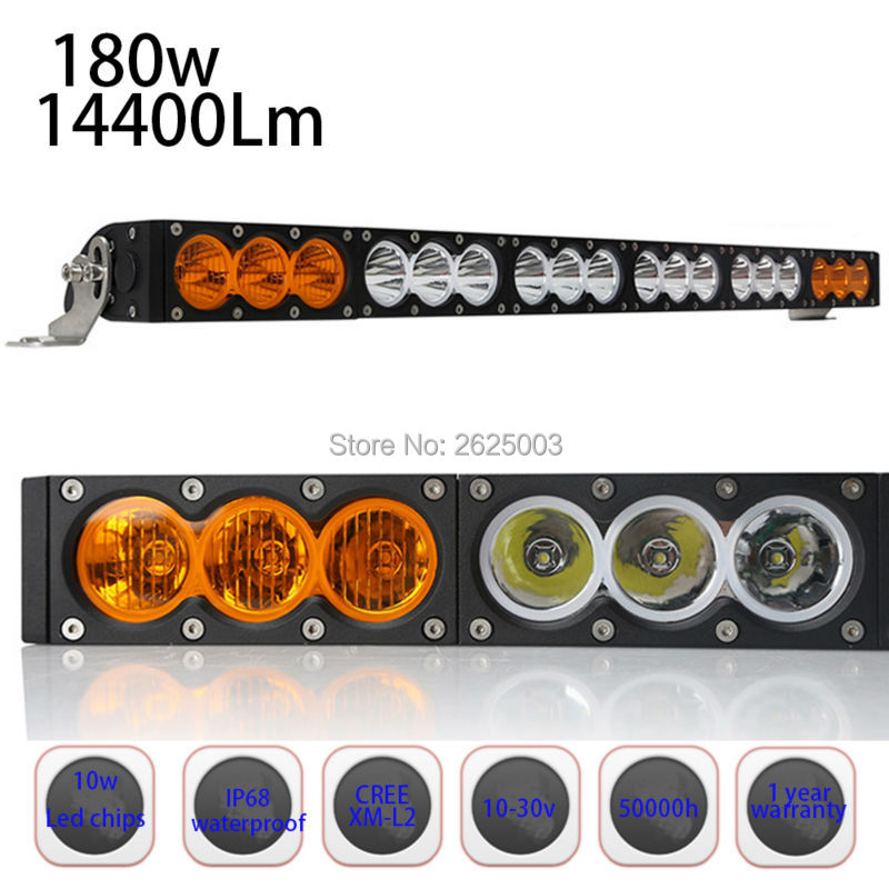 180W 33inch Straight Single Row Dual Two Color White Amber Led Offroad Light Bar with Cree 10W Super Bright for Driving Fog free shipping super wide u shape aluminum anodized profile for led strips with cover and end caps for dual row led strip