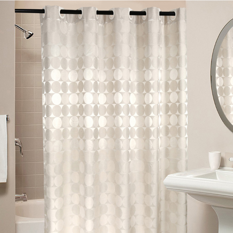 Elegant Circle Solid Shower Curtain Polyester Fabric Thick Waterproof Bath Curtain Mold Simple Bathroom Set Partition