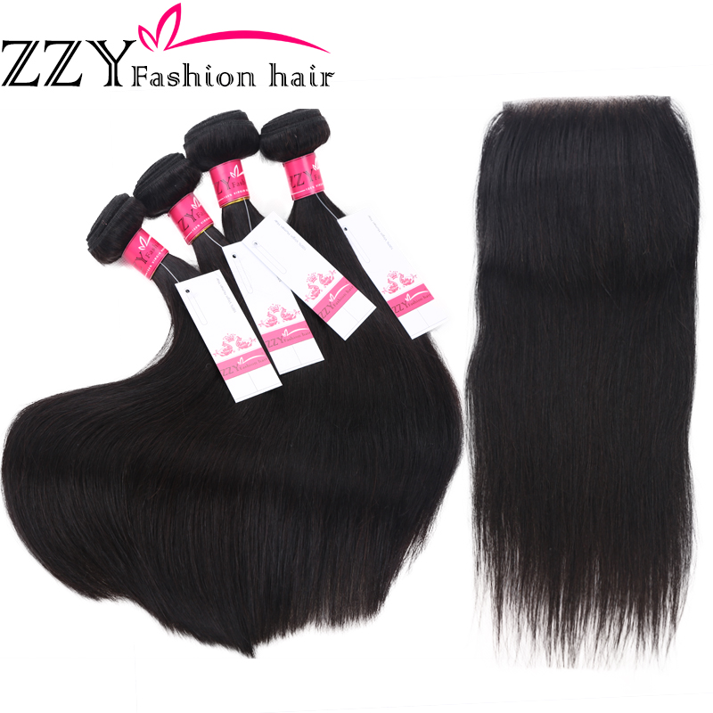 ZZY Fashion Peruvian Non Remy Straight Human Hair Weave 4 Bundles With Lace Closure Free Shipping