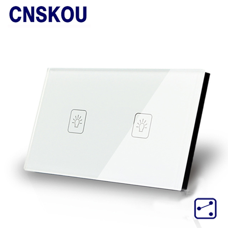 Cnskou US/AU Standard 2Gang 2Way Light Wall Touch Switches Black Crystal Glass Panel Touch Sensor Switch Smart Home Factory 3 gang 2 way us au standard smart touch switch crystal glass panel wall light controler