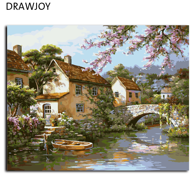 On Canvas Painting Numbers Frameless-Picture Landscape Living-Room Home-Decoration