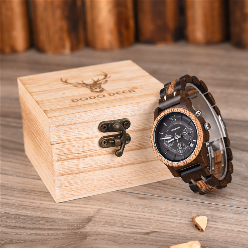 Watch Women Clock Dodo Deer Luxury Gift Wooden Hand for Ladies C01 Case Multi-Functional