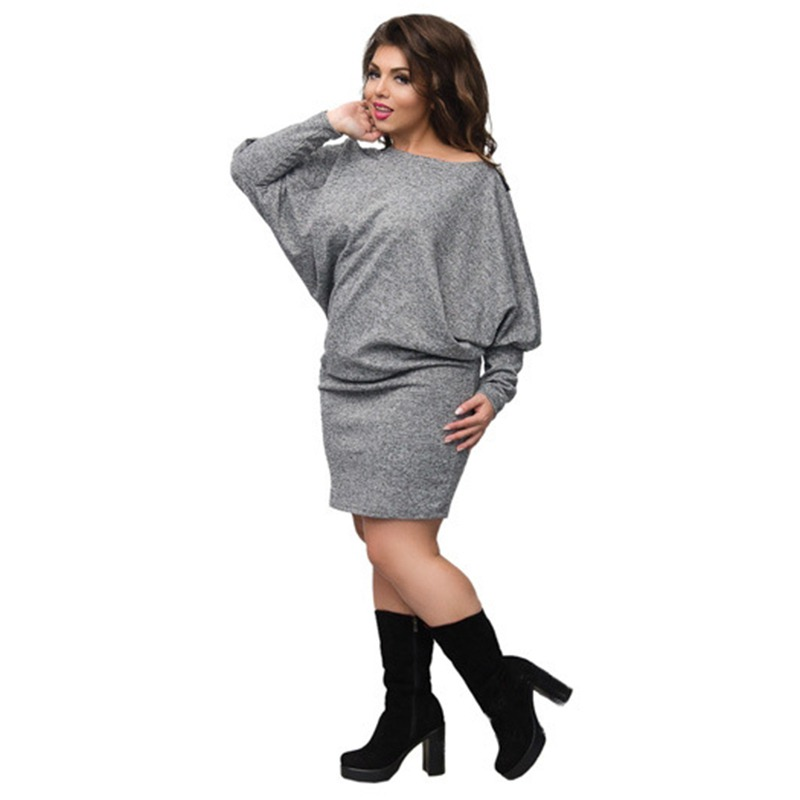 bbaf02a6882 Newest Winter Women Plus Size Back Lace Dress Batwing Sleeve Knitted  Bodycon Dress Sexy Female Dress