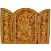 Chinese wood carving Buddha Maitreya Buddha ornaments three open box Fu Lu Shou home crafts Guanyin Bodhisattva