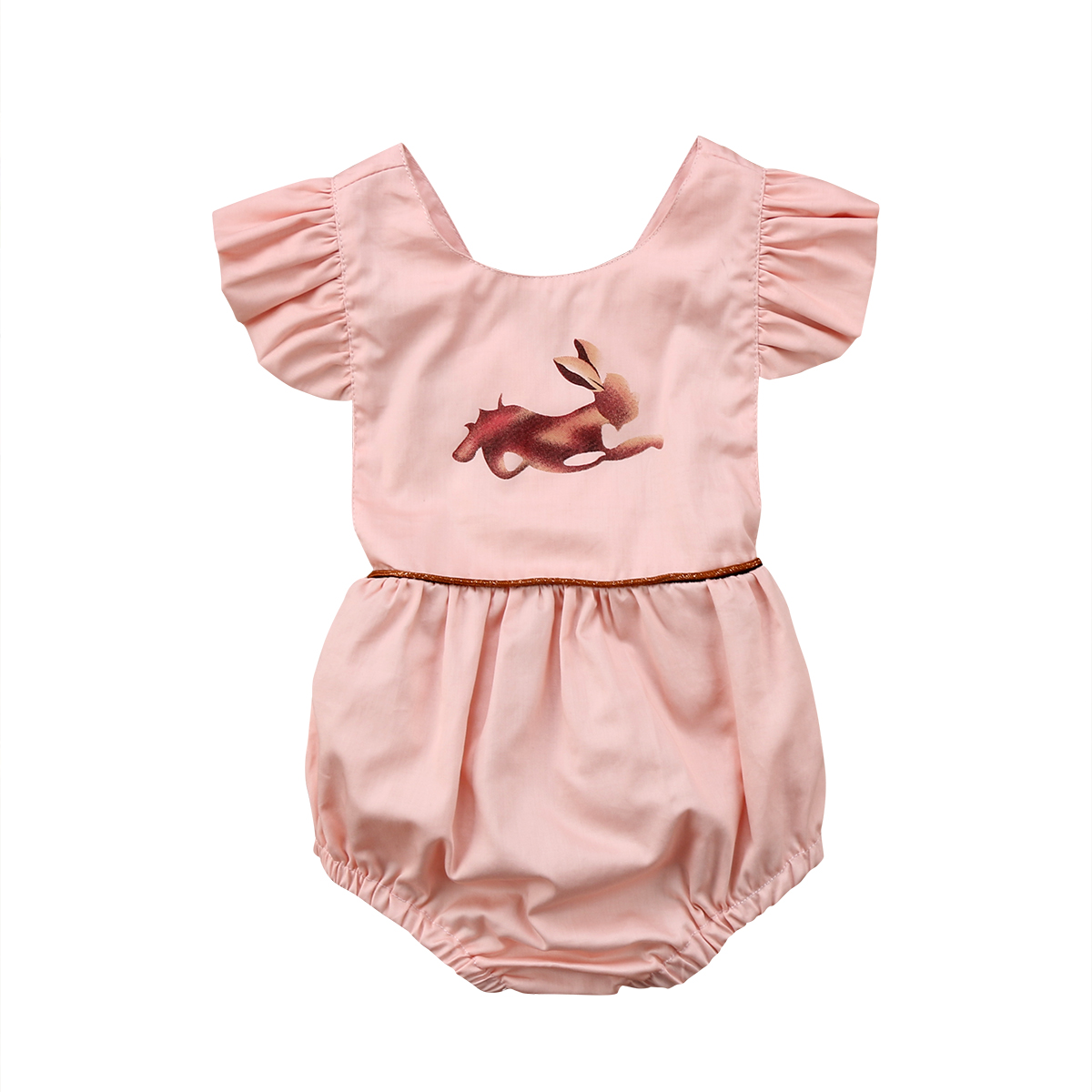 9bd23ff08a45 Infant Baby Girls Bunny Romper 2018 Ruffles Jumpsuit Newborn Baby Girls  Cotton Sunsuit Easter Outfits Children Clothes 0-24M