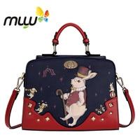 Contrast Color Vintage Cartoon Women Shoulder Bags Hard PU Flap Handbag Zipper Closure Adjustable Strap Messenger Bag 7008210