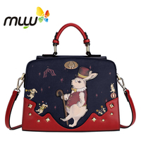 Contrast Color Vintage Cartoon Women Shoulder Bags Hard PU Flap Handbag Zipper Closure Adjustable Strap Messenger Bag 7008210