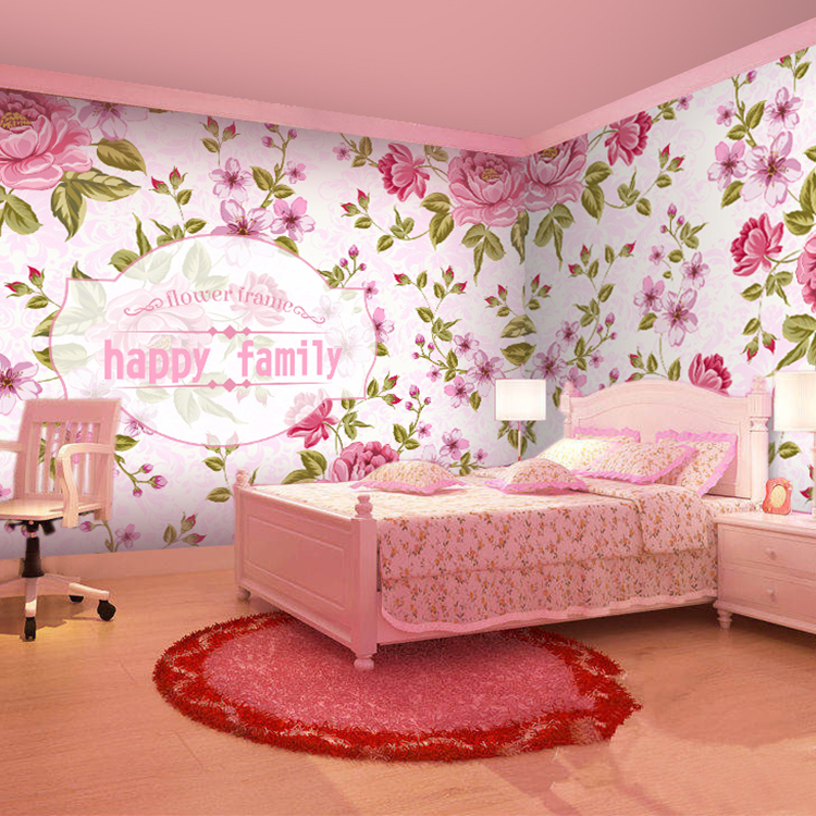 Romantic Pink Girl custom 3D wallpaper sofa living room bedroom ...