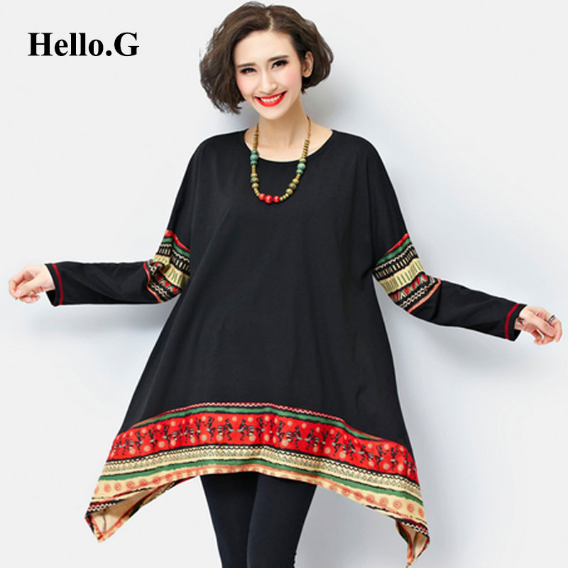 baeab4c28d8 2016 Loose Big Size Irregular Long Black Blue Shirt Women Long Sleeve  Ladies Shirts Patchwork Tribal Print Blouses Women Tops-in Blouses & Shirts  from ...