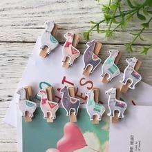 LLama Party Decorations Creative Alpaca Cactus Wooden Clip Cartoon Cute Birthday Decoration Supplies