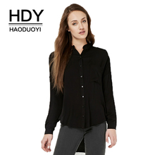 HDY Haoduoyi Brand Women Black/White Casual Shirts Long Sleeve High Low Hem Oversize Shirt Singal Buttons Female Loose Blouses