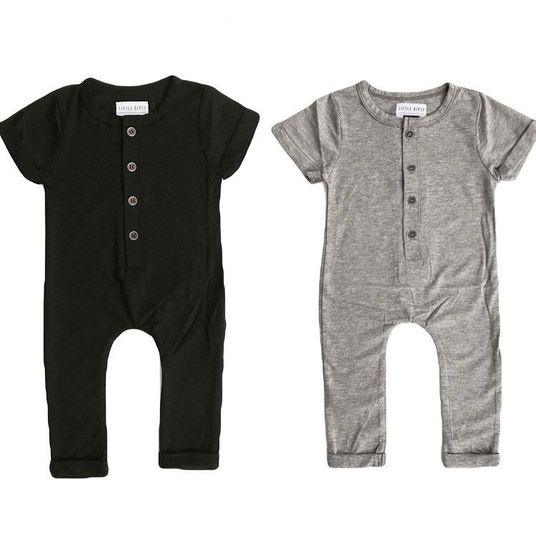 Infant Newborn Baby Boy Girl Clothes Romper Playsuit Children Clothing Summer Outfits Gray Black Boys Girls Costume Rompers одежда на маленьких мальчиков