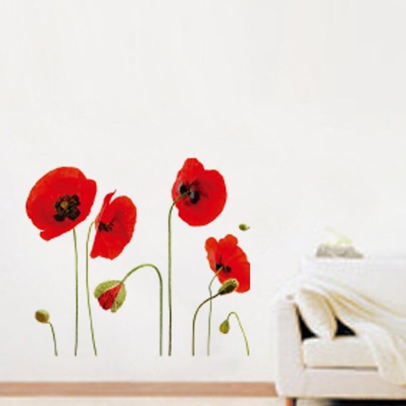Red Sunflower Flower Vinyl Wall Stickers Home Decor Art Decals
