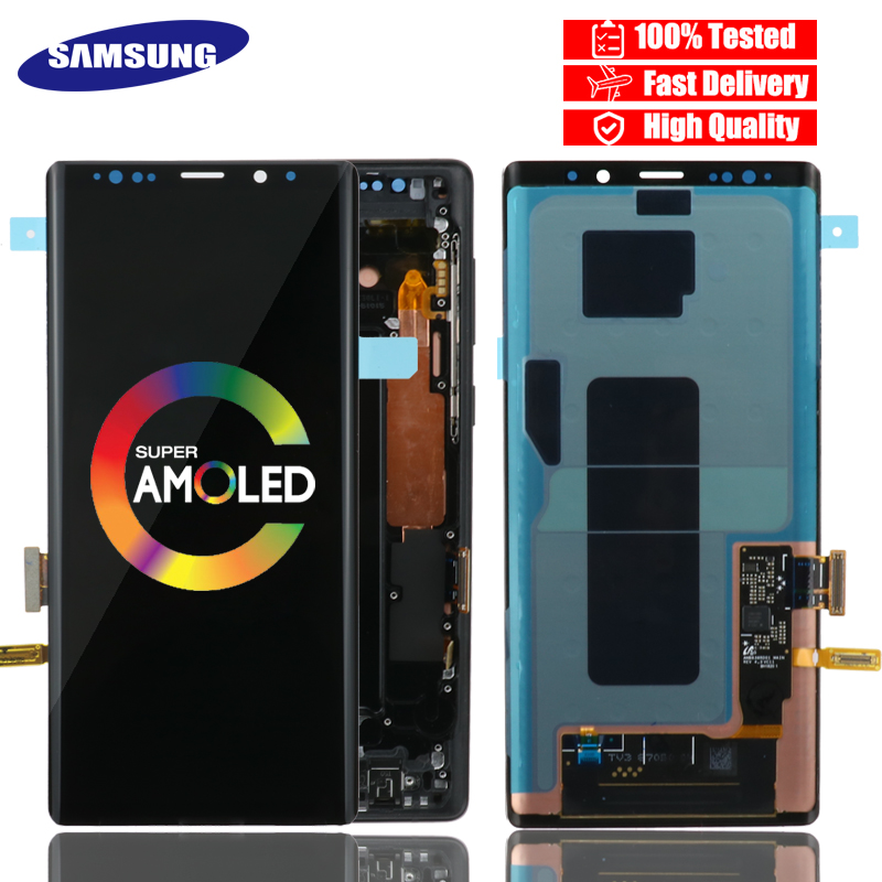 ORIGINAL SUPER AMOLED 6 4 LCD with frame for SAMSUNG GALAXY Note 9 Note9 N960 N960F
