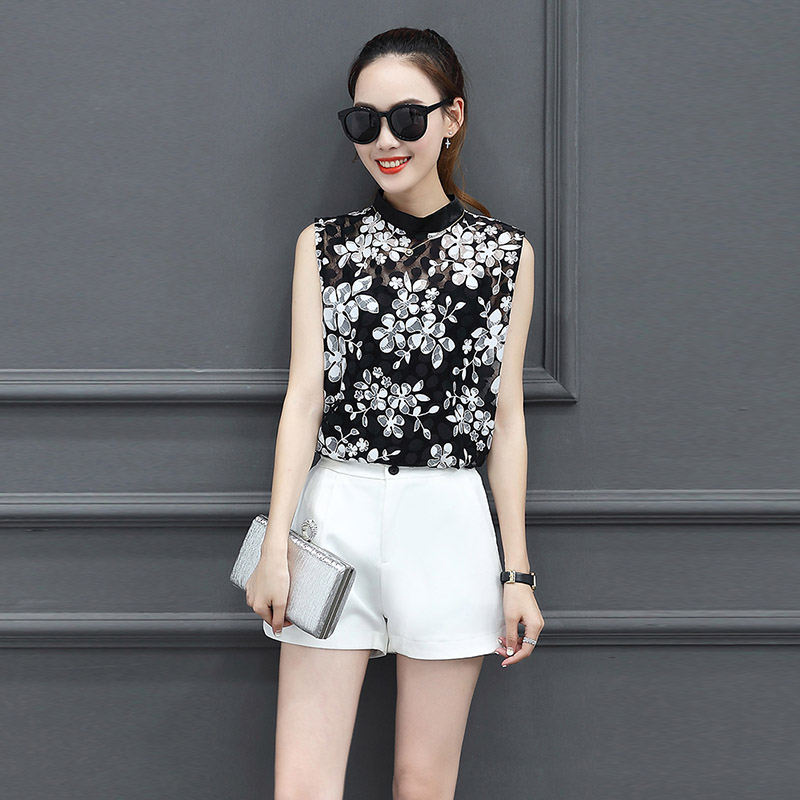 2019 New Women Summer Blouse Shirts Mesh Short Sleeve Sleeveless Shirt Floral Feather Tops Female Clothing Office Ol Style Top To Produce An Effect Toward Clear Vision
