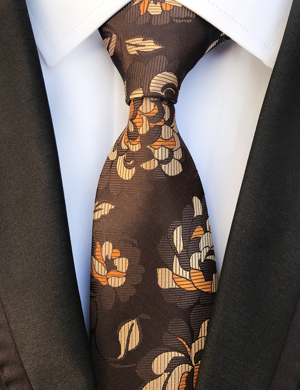 New Design Paisley Brown Orange Jacquard Woven Silk Ties Mens Neck Tie 8CM Ties For Men Wedding Suit Business Party Gravatas