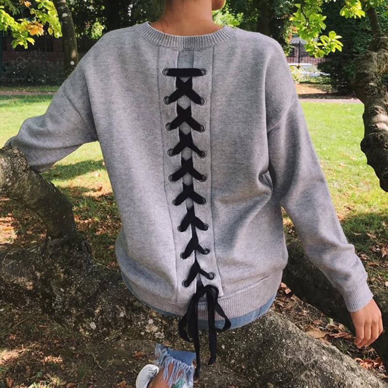 Fashion Hoodies Women Pullovers Long Sleeve O-Neck Harajuku Hoodie Lace Up Back Sweatshirt Tops Plus Size WS3761M