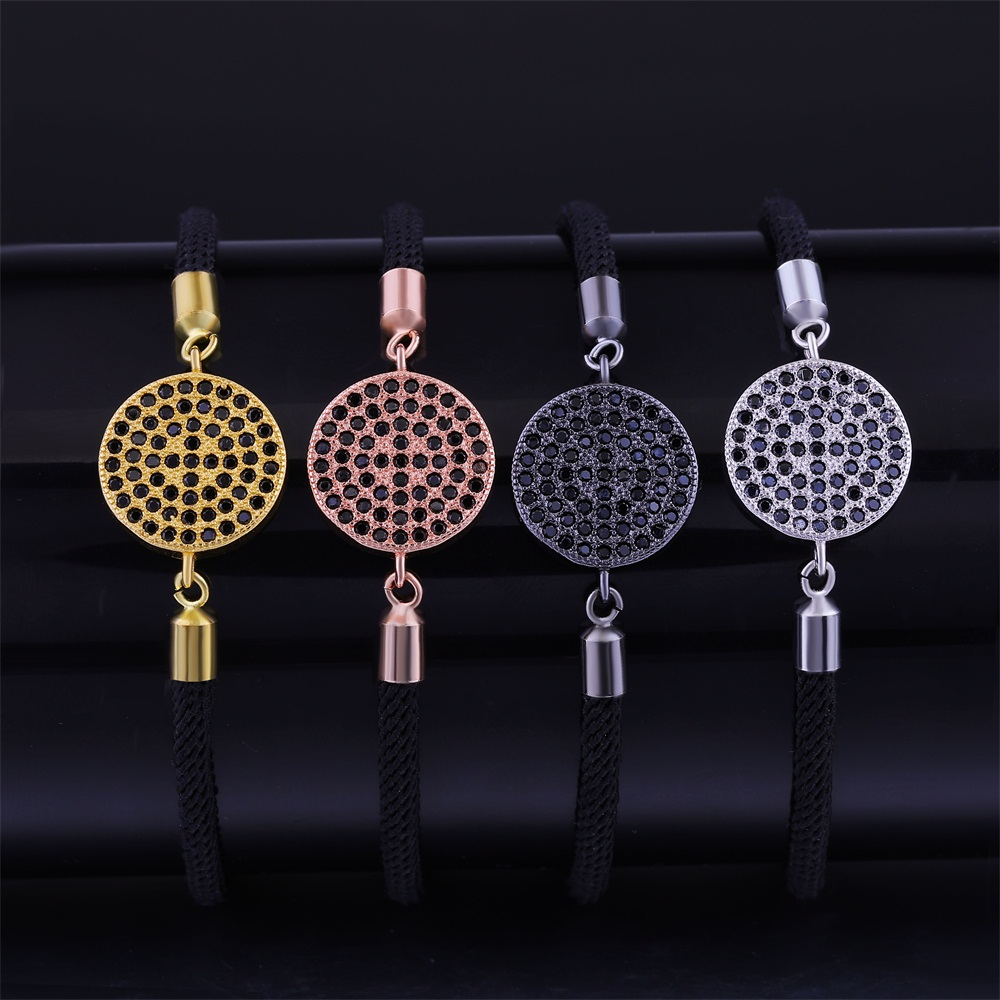 Women Men Gold/Silver/Rose Gold/Black Cubic Zirconia Round Shape Charm With Adjustable Rope Chains Femme Fashion Charm Bracelets