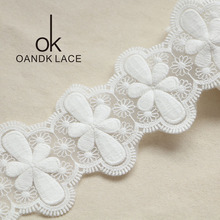 1yard  8cm White Embroidered Net Lace Fabric Trim Ribbons DIY Sewing Handmade Craft Materials