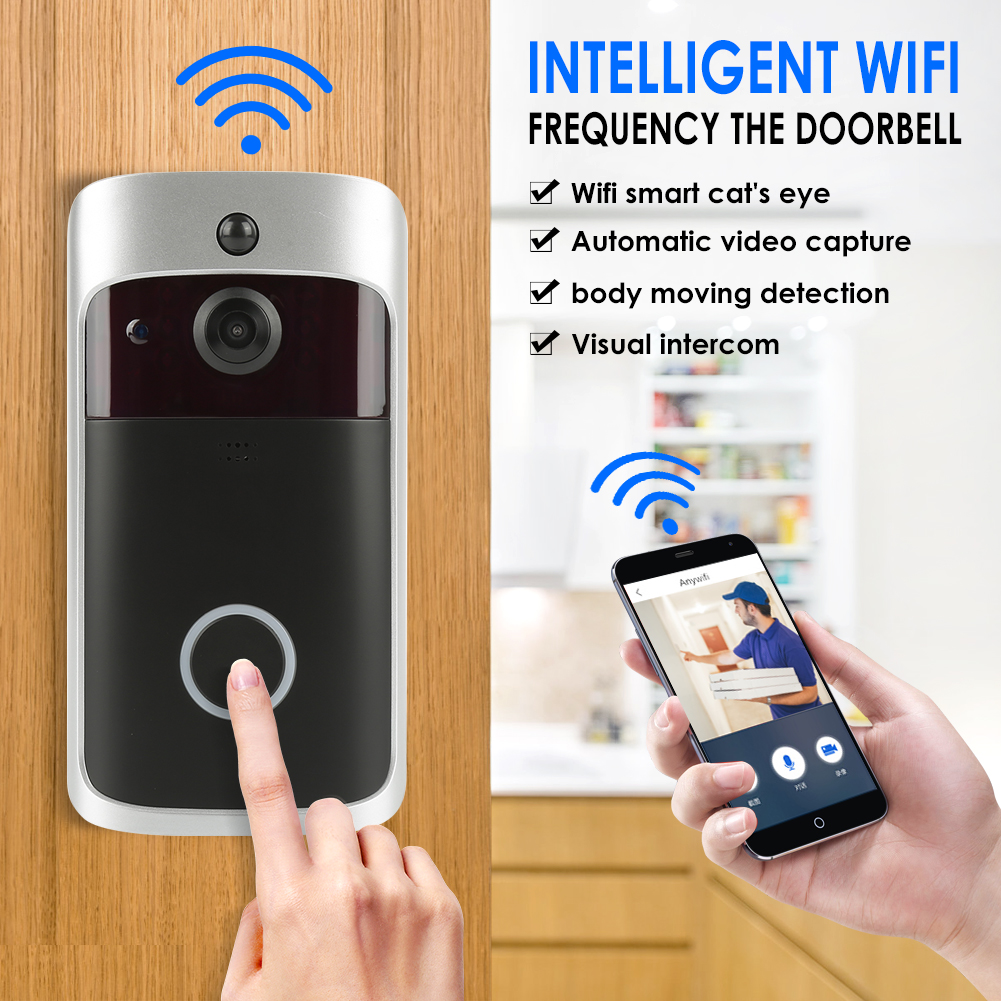 WiFi Ring Doorbell Smart Wireless Bell Camera Video Phone APP  Ios Android Control Voice Intercom Home Security Alarm DoorbellWiFi Ring Doorbell Smart Wireless Bell Camera Video Phone APP  Ios Android Control Voice Intercom Home Security Alarm Doorbell