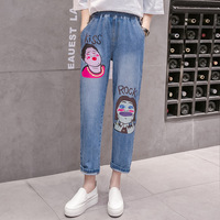 100Kg 5Xl Plus Size Women Jeans Elastic Waist Character Cartoon Print Jeans Casual Baggy High Waisted Mom Jeans Cintura Alta