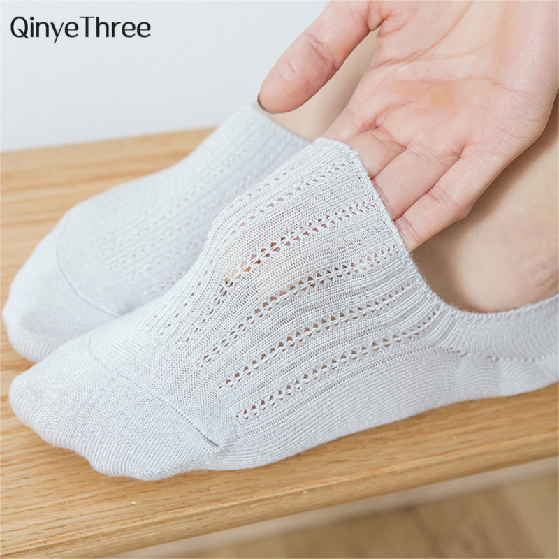 Women Bamboo Fiber Breathable Mesh Socks Candy Color Vertical Stripes Hollow Girls Fashion Summer Low Cut Invisible Sokken Sweet