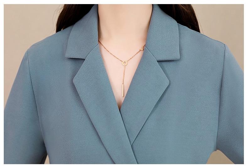 Spring and Autumn 2019 New Women's Dresses Korean Edition Long Sleeve Dresses Overlap Long Popular Temperament with Bottom 149