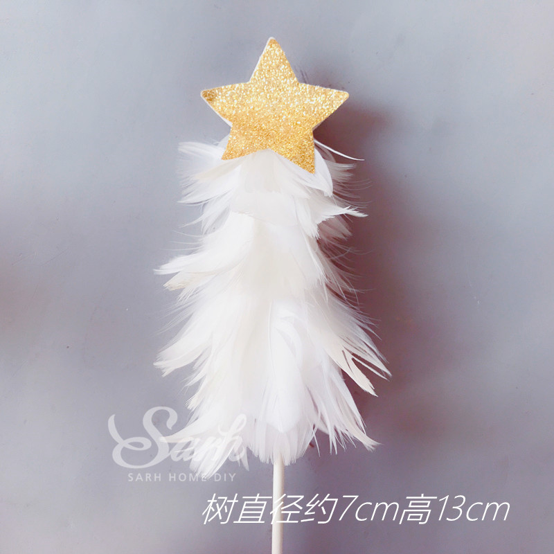 gold white feather christmas tree star balloon collection cake topper dessert decoration for birthday party lovely gifts in cake decorating supplies from