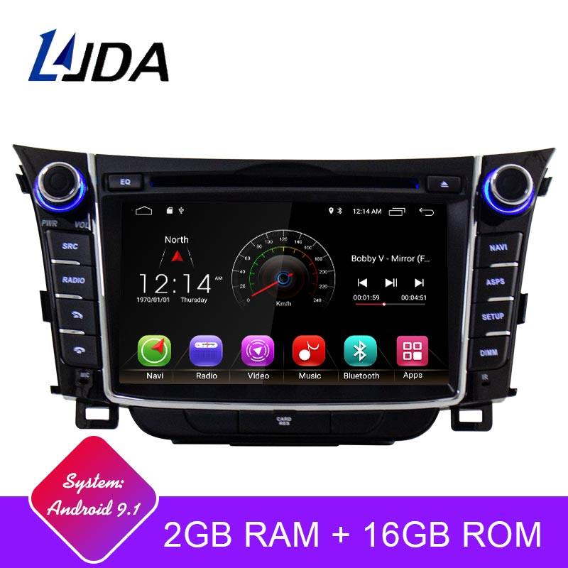 LJDA Android 9.1 Car Dvd Player For Hyundai I30 Elantra GT 2012 2013 2014 2015 2016 Car Radio Gps Navigation Stereo Multimedia