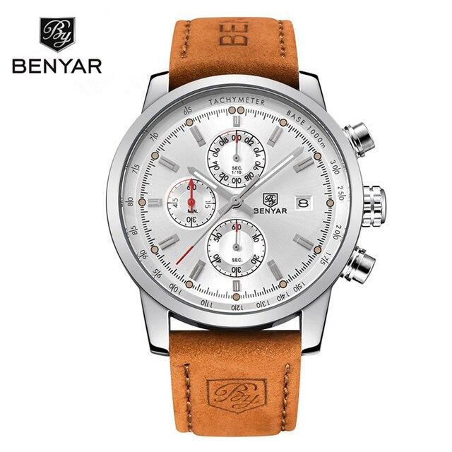 BENYAR Brand Watches Men Fashion Waterproof Military Chronograph Sport Quartz Wrist Watch Leather Clock Saat Relogio Masculino