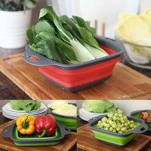 2pcs/set Foldable Strainer Basket – Collapsible Colander Sets – Square Shape – Fruit Vegetable Washing Drainer & Kitchen Baskets