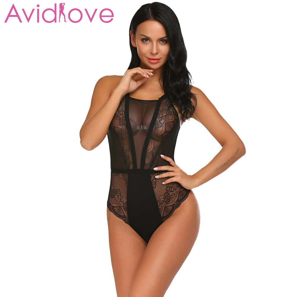 Buy Avidlove Women Sexy Costumes Bodystocking Body Suit Sexy Lingerie One Piece Bodysuit Halter Sheer Lace Patchwork