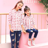 Mommy Daughter Blouse Long Sleeve Shirt Family Matching Clothes Autumn Love Pattern Lapel White Clothing For