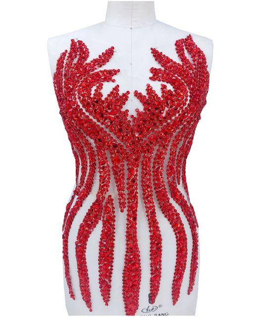 Ручной работы пришить красные стразы аппликация на сетки кристаллы отделка патчи 65*34 см для платья DIY аксессуары