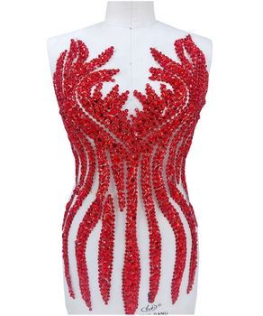 Ручной работы пришить красный Стразы аппликация на сетка кристаллы отделкой патчи 65*34 см для платье DIY аксессуары