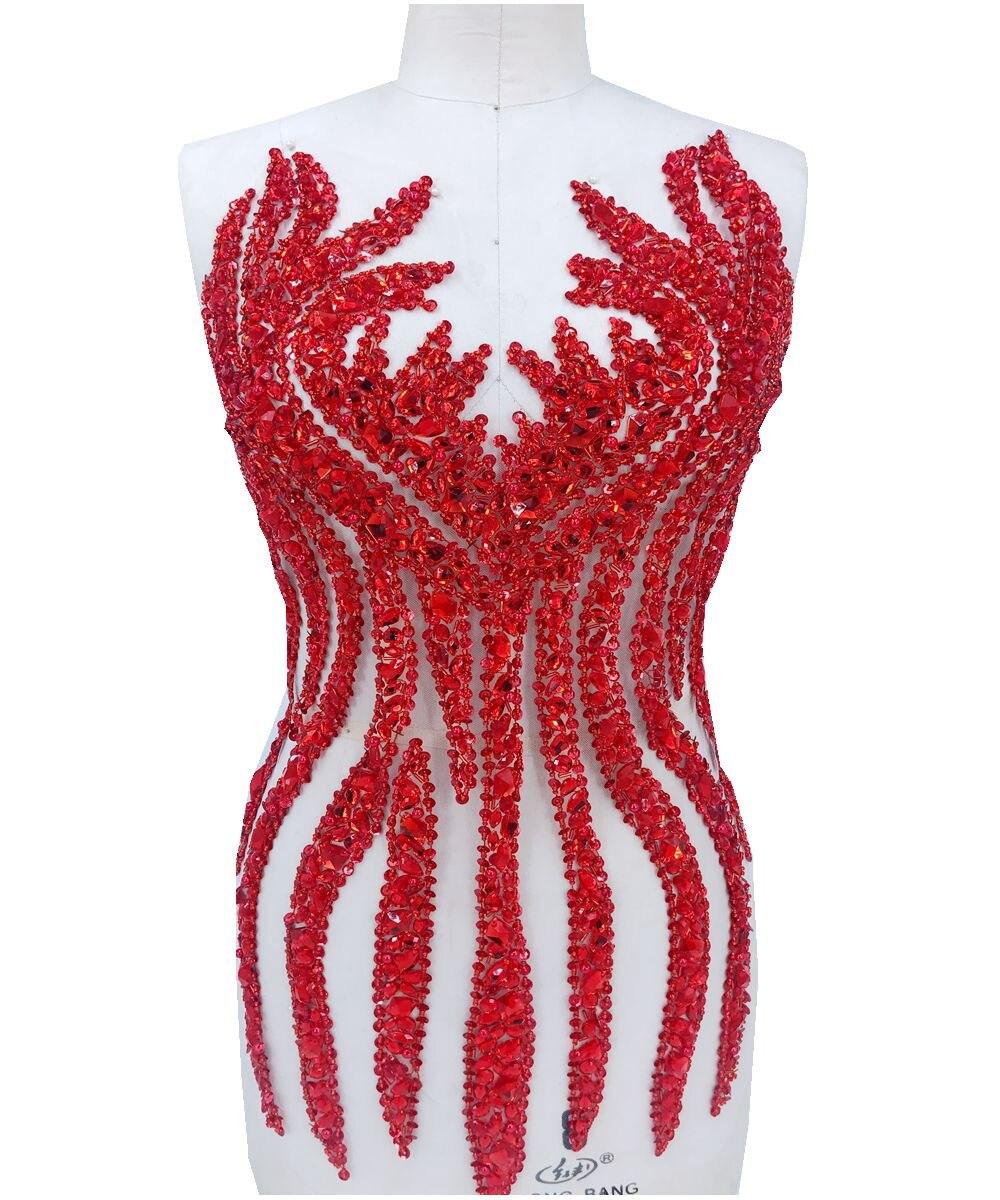 Apliques de diamantes de imitación rojos hechos a mano en cristales de malla parches de ajuste 65*34 cm para el vestido accesorios de bricolaje-in Parches from Hogar y Mascotas    1