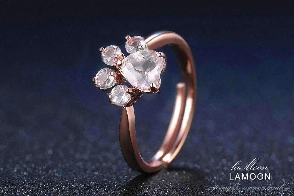 HTB1LY.ZlvNNTKJjSspkq6yeWFXak LAMOON 925 Sterling Silver Ring For Women Bear Paw Rose Quartz Gemstone 18K Rose Gold Adjustable Ring Fine Jewelry RI027-2