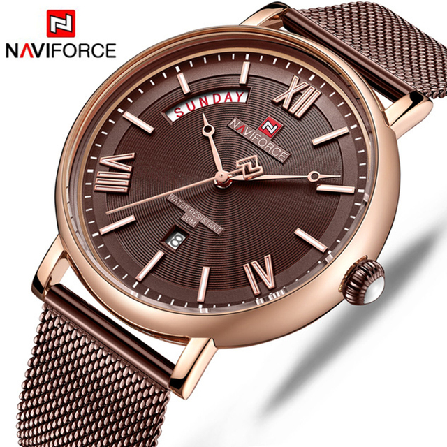 NAVIFORCE Watch Men Fashion Sport Watches Men's Casual Waterproof Quartz Wristwatch Stainless Steel Mesh Relogio Masculino 3006