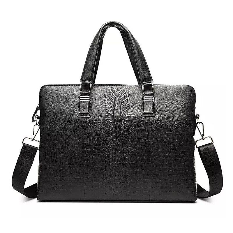 Nesitu Black Alligator Pattern Genuine Leather 14 Laptop Men Briefcase Messenger Bag Male Office Portfolio Shoulder